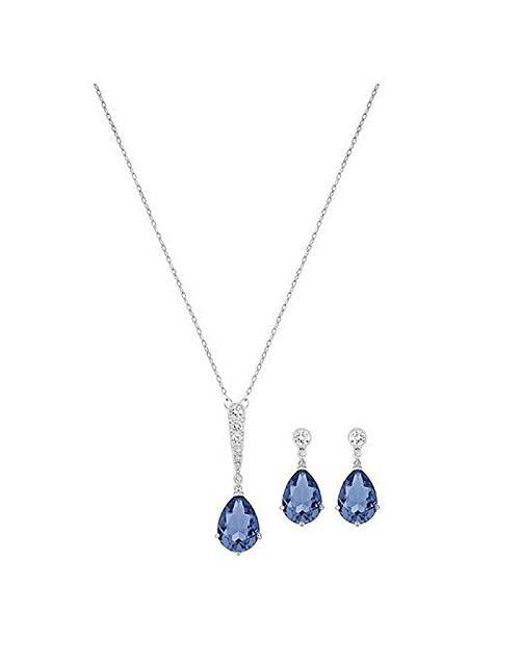 Swarovski - Blue Vintage Crystal Pendant Necklace And Drop Earrings Set - Lyst