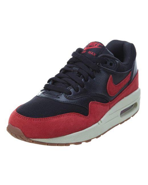 Nike | Air Max 1 Essential Black/gym Red/sail/gm Md Brown Running Shoe 5.5 Women Us | Lyst