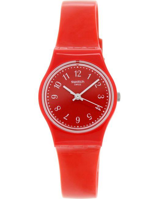 Swatch - Originals Lr127 Red Plastic Swiss Quartz Fashion Watch - Lyst