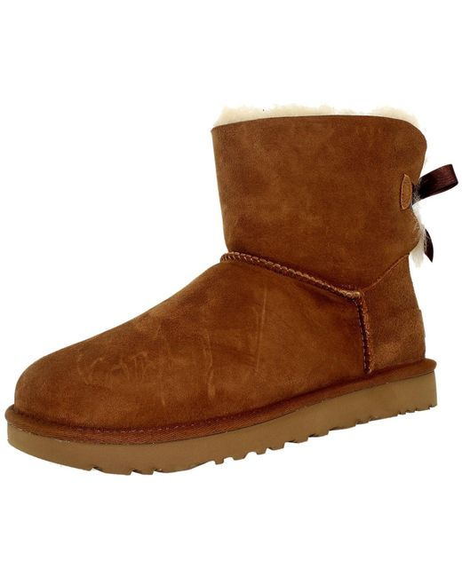 Ugg | Brown Ugg Mini Bailey Bow Chestnut Ankle-high Suede Boot | Lyst