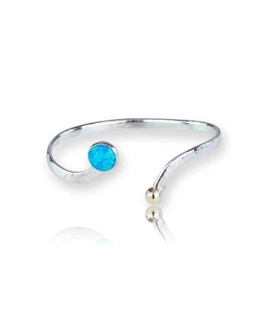 Lavan | Gold And Silver Blue Opal Bangle | Lyst