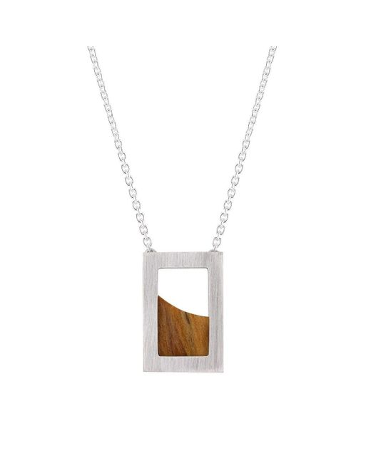Ilda Design Brown Silver Necklace With Curved Pine Tree And Cable Chain