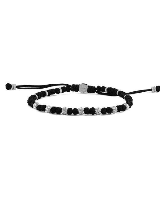 Tateossian - Sterling Silver & Black Macrame Knots Bracelet | - Lyst