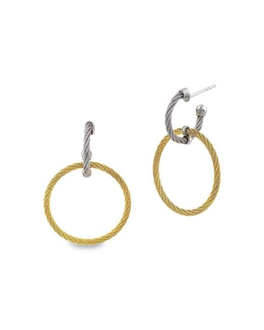 Alor - Metallic 18kt White Gold & Stainless Steel Classique Circle Diamond Drop Earrings - Lyst