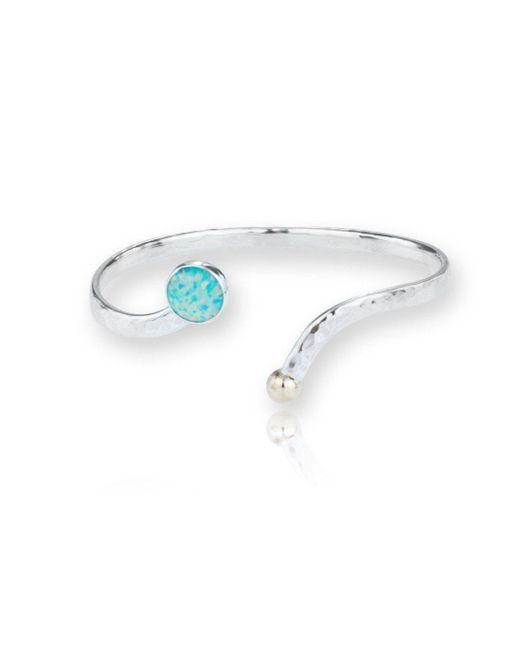 Lavan - Metallic Gold And Silver Torq Bangle Set With Stunning Green Opals - Lyst