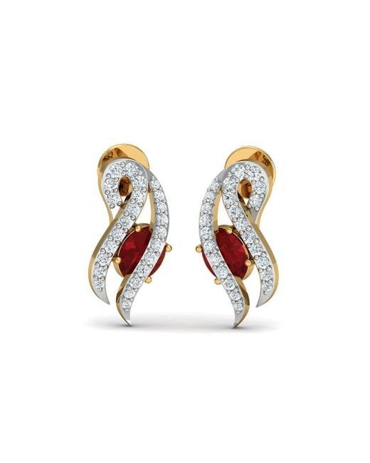 Diamoire Jewels - Metallic Braided 18kt Yellow Gold Ruby And Diamond Stud Earrings - Lyst