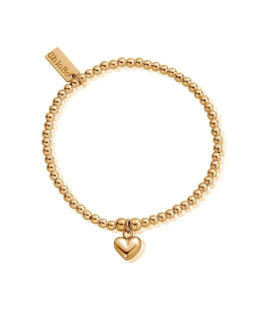 ChloBo Metallic Cute Charm Bracelet With Puffed Heart
