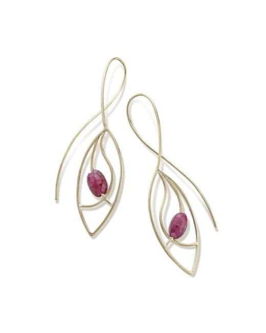 Janice Zethraeus - Metallic Ruby Frond Earring - Lyst