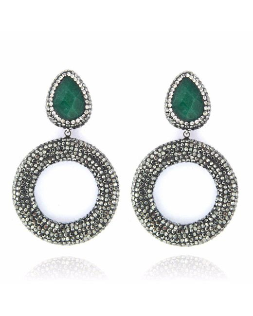 Cosanuova | Metallic Emerald Drop Earrings | Lyst