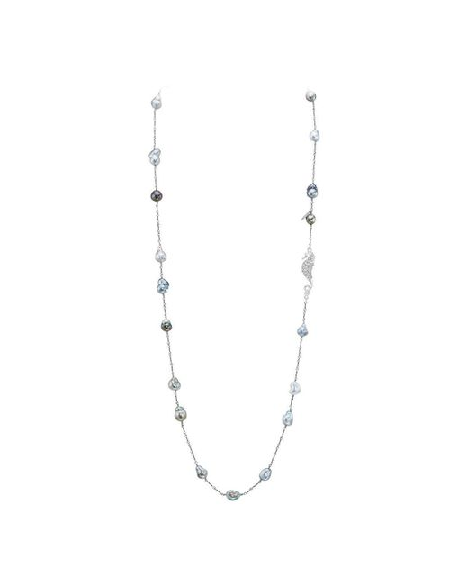 LJD Designs - Metallic Baroque Tahitian Cultured Pearl Necklace - Lyst