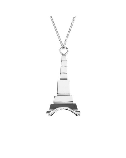Origami Jewellery - Metallic Sterling Silver Eiffel Tower Origami Necklace - Lyst