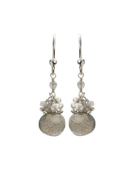 Mishanto London - Multicolor Cari Pearl And Labradorite Drop Earrings - Rhodium Plated - Lyst