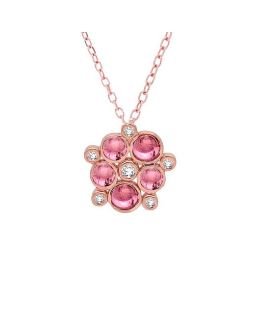 London Road Jewellery - 9kt Rose Gold Pink Tourmaline & Diamond Cluster Pendant Necklace - Lyst