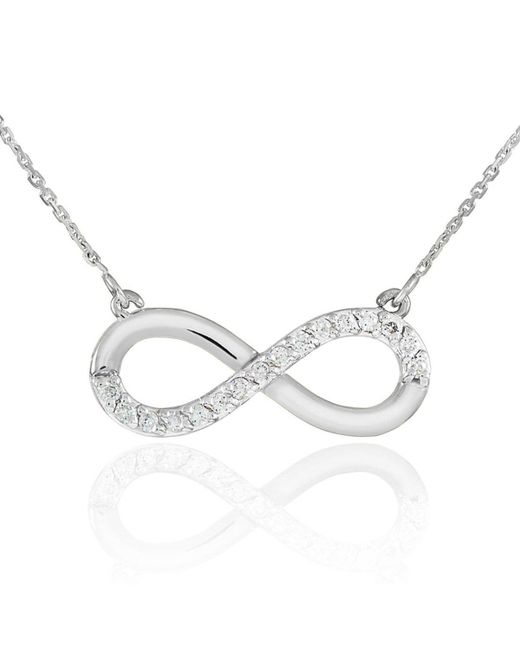 QP Jewellers | Metallic Cz Infinity Pendant Necklace In 9kt White Gold | Lyst