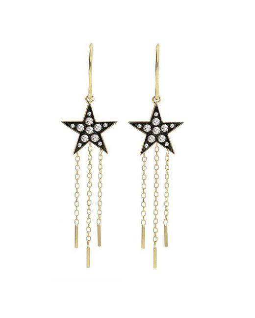 London Road Jewellery - Metallic Portobello Yellow Gold Rose Cut Diamond Star Drop Starry Night Earrings - Lyst