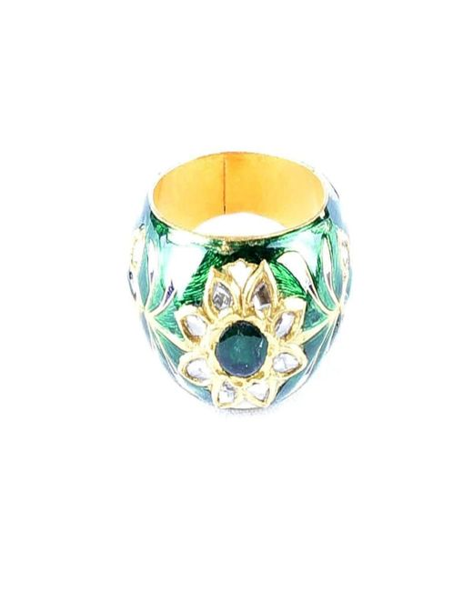 M's Gems by Mamta Valrani | Green Glory Enamel Ring With Emerald | Lyst