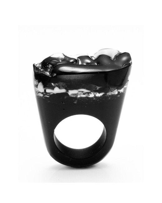 Pasionae - Metallic Murano Ring - B&w - Delight - Lyst