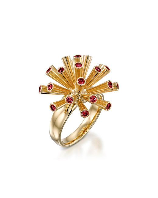Ayalla Joseph | Metallic Fireworks Ring With Red Spinel | Lyst