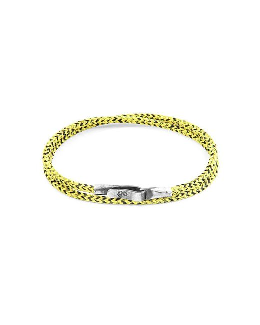 Anchor & Crew - Metallic Yellow Noir Liverpool Silver And Rope Bracelet - Lyst