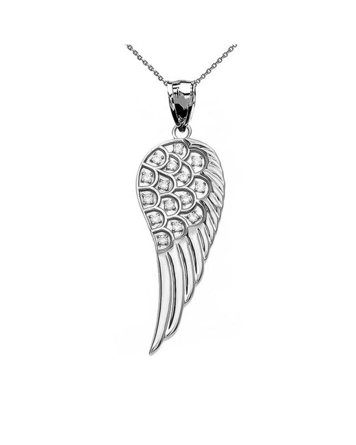 QP Jewellers | Metallic Diamond Angel Wing Pendant Necklace In 9kt White Gold | Lyst
