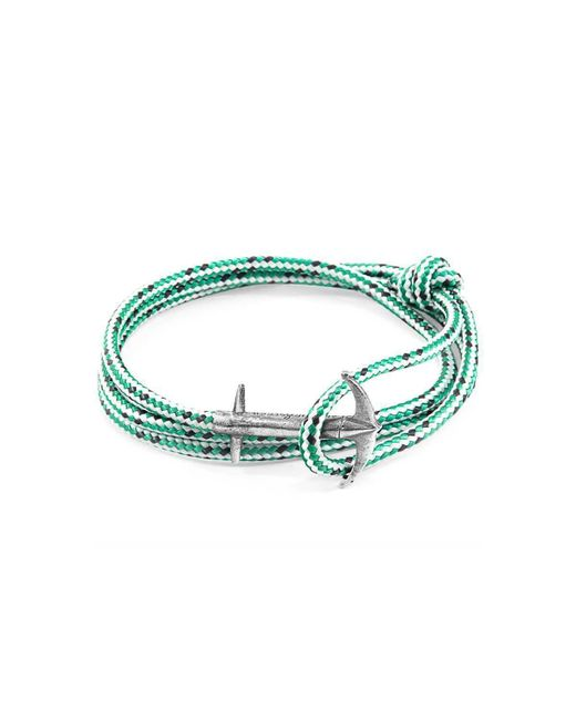 Anchor & Crew - Multicolor Green Dash Admiral Silver And Rope Bracelet for Men - Lyst