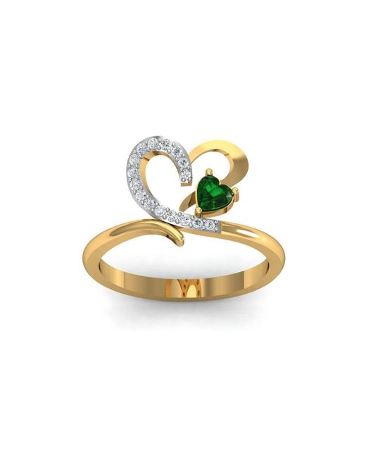 Diamoire Jewels - Metallic 18kt Yellow Gold Pave 0.10ct Diamond Infinity Ring With Emerald - Lyst