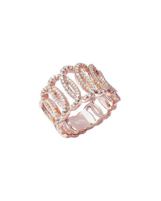 Lustre of London - Pink Rose Squiggle Ring - Lyst
