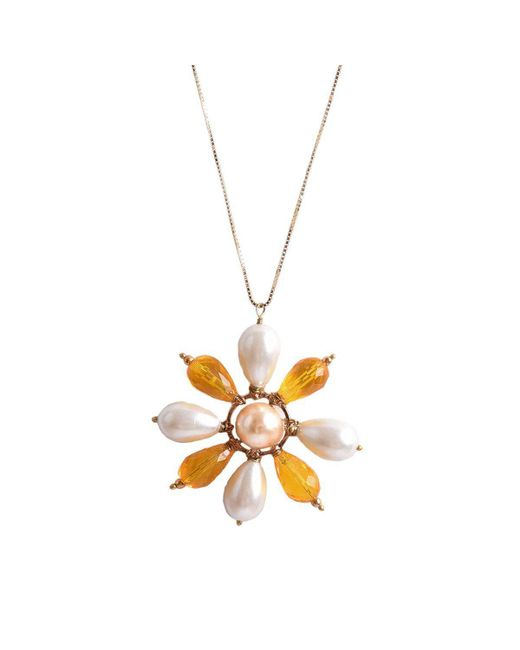 M's Gems by Mamta Valrani | Multicolor Spring Blossom Chain With White And Yellow Floral Pendant | Lyst