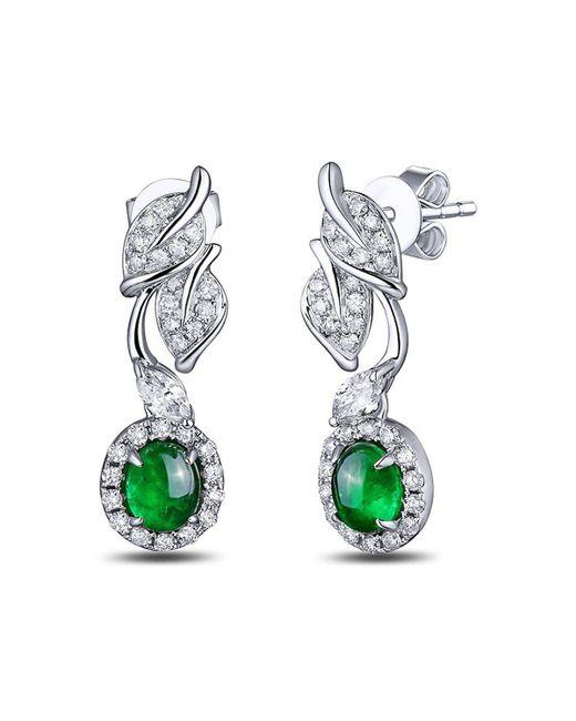 SILVER YULAN - Green Cabochon Emerald Diamond Leaf Earrings - Lyst