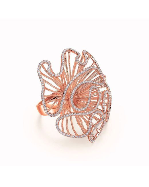 Fei Liu - Multicolor Cascade Large Ring In 18kt Rose Gold Plate - Lyst