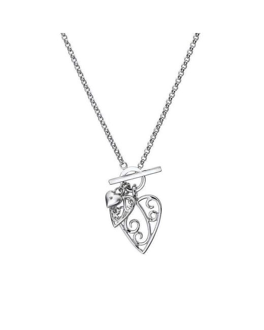 Lily and Lotty | Metallic Aimee Silver & Diamond Heart Necklace | Lyst