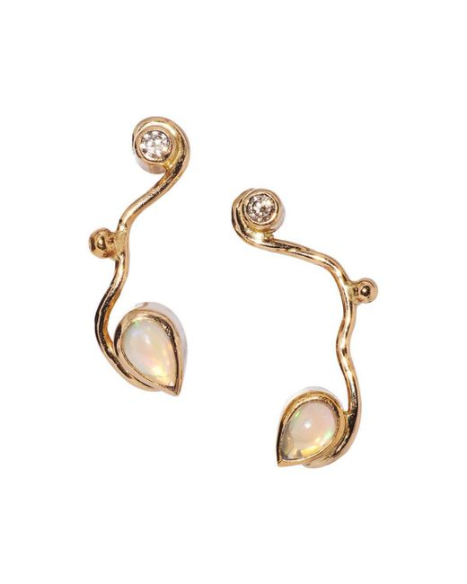 Bergsoe - Metallic Spiral Earrings With Champagne Diamond And Opal Beads - Lyst