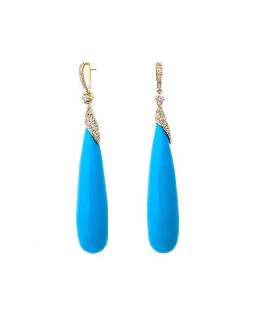 Nehita Jewelry | Blue Teardrop Turquoise Cabochon Earrings | Lyst