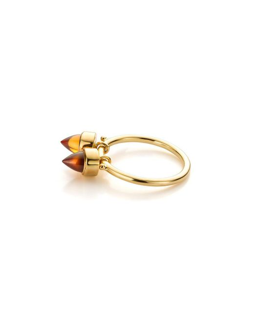 Jewellery Design Marie-Benedicte - Metallic Pure Line Ring In Gold And Orange Garnets - Lyst