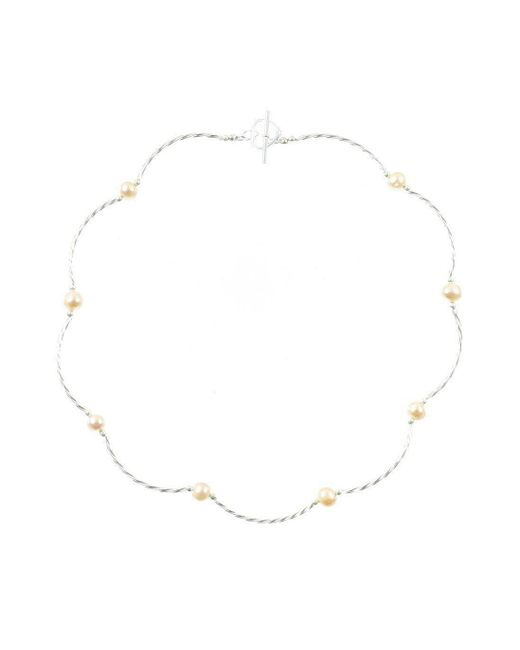 Lily Blanche - Metallic Twist Champagne Pearl Necklace - Lyst