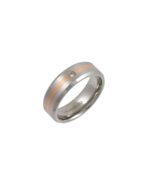 Star Wedding Rings - Black Titanium And 9kt Rose Gold Inlay Flat Court Shape Diamond Matt Ring - Lyst