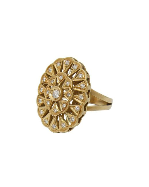 YRYS - Multicolor Lotus 18kt Yellow Gold Ring - Lyst
