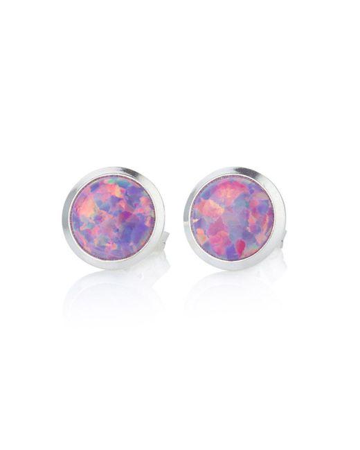 Lavan - Silver Purple Opal Studs 10mm - Lyst