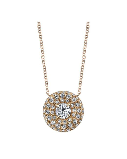 Harry Kotlar - Metallic Round Diamond Solitaire Chevron Artisan Pave Necklace - Lyst
