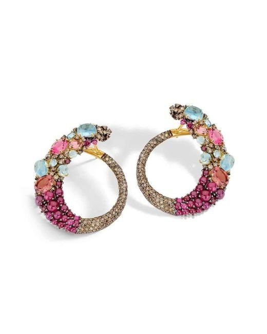 Brumani - Multicolor Double Baobab Bubbles Earring In Yellow Gold - Lyst