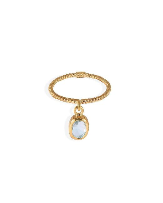 Christina Soubli | Metallic Loose Ring Band With Aqua | Lyst