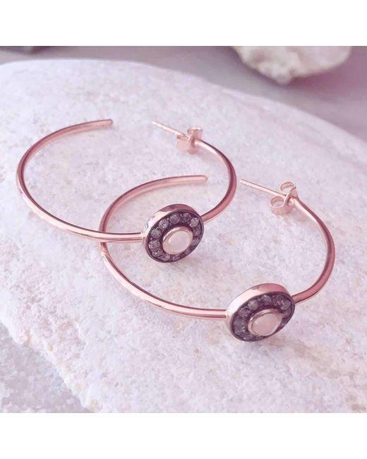 Latelita london Diamond Rose Chalcedony Rose Gold Hoop Earring in