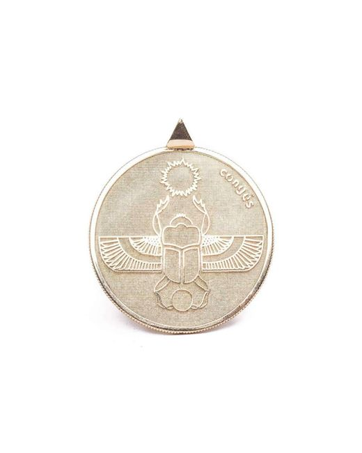 Conges - Metallic Gold Scarab Two Sided Coin Necklace - Lyst