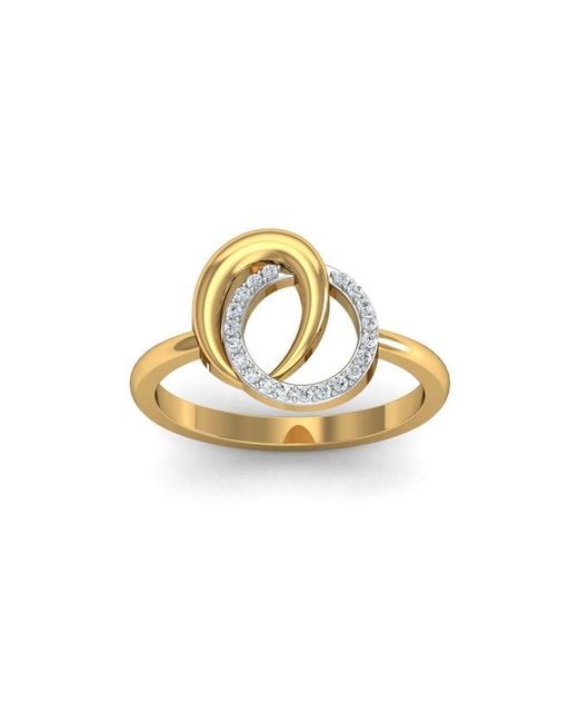 Diamoire Jewels 18kt Yellow Gold Pave 0.07ct Diamond Infinity Ring V - UK G 1/4 - US 3 1/2 - EU 45 3/4 3pB012OG