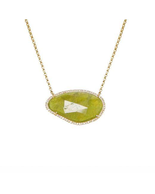 Ri Noor - Multicolor Green Sapphire Slice And Diamond Necklace - Lyst