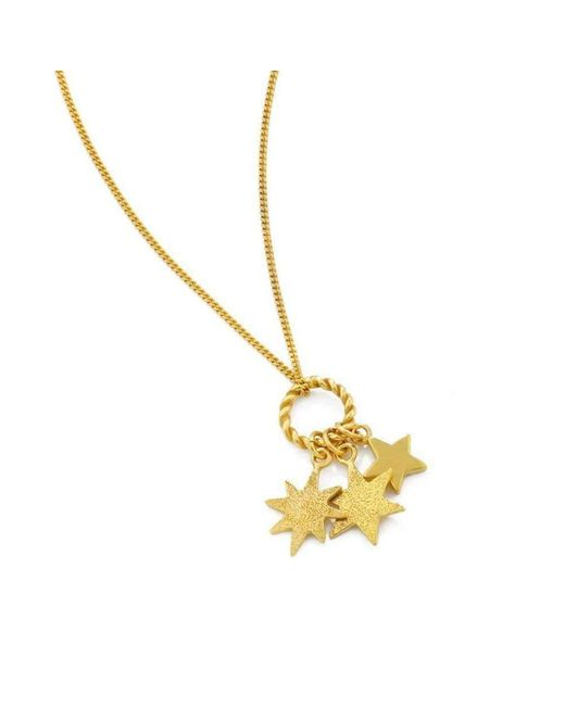 Vicky Davies - Multicolor Sterling Silver & 18kt Gold Triple Star Pendant Necklace - Lyst