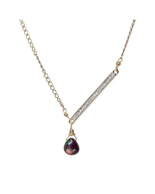 Nadean Designs - Metallic Opal Diamond Bar Asymmetrical Minimalist Necklace - Lyst