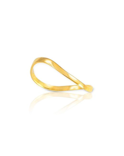 QP Jewellers - Metallic Wavy Thumb Ring In 9kt Gold - Lyst