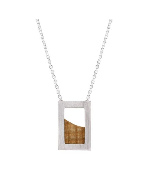 Ilda Design Brown Silver Necklace With Curved Ash And Cable Chain