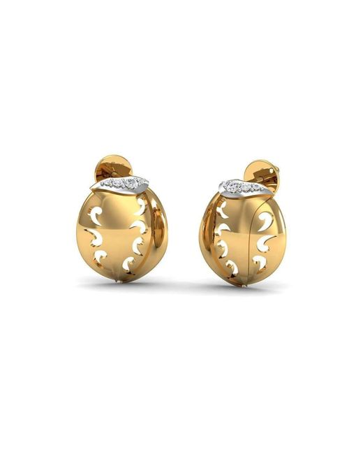 Diamoire Jewels Hand-carved 18kt Yellow Gold and Premium Quality Diamond Earrings 8syPHz
